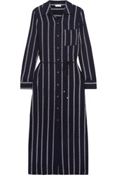 Splendid Rope Striped Voile Midi Dress Navy