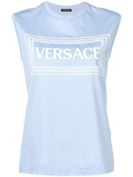 Versace Embroidered Logo Tank Top Blue