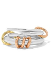 Spinelli Kilcollin Orion Set Of Three Sterling Silver And 18 Karat Yellow And Rose Gold Rings