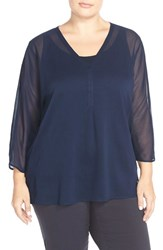Plus Size Women's Sejour Crinkled Chiffon V Neck Blouse