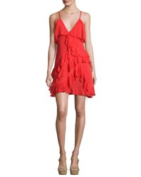 Alice Olivia Lavinia Sleeveless Raw Edge Ruffle Mini Dress Bright Red