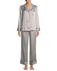 Neiman Marcus Two Piece Candy Stripe Silk Pajama Set White Red Navy