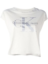 Calvin Klein Jeans Logo Short Sleeved T Shirt White