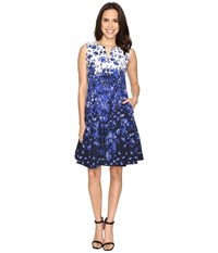 Christin Michaels Albany Beauty Fit And Flare Navy Ivory Women's Dress Blue