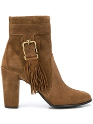 Tod's Fringed Ankle Boots Brown