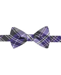 Countess Mara Men's Duane Plaid Pre Tied Bow Tie Purple