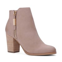 Aldo Mathia Stacked Heel Ankle Boots Beige