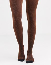 Gipsy Ultra Sparkle Tights In Copper Orange