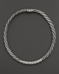 John Hardy Sterling Silver Classic Chain Large Twisted Chain Necklace With Diamonds 18