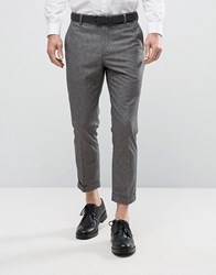 New Look Cropped Smart Trousers In Grey Grey