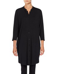 Eileen Fisher Button Front Three Quarter Sleeved Shirt Dress Black