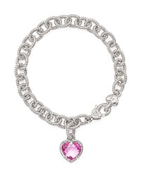 Judith Ripka Sterling Silver Single Heart Charm Bracelet With Pink Corundum Pink Silver