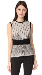 Yigal Azrouel Sleeveless Embroidered Top Nude Jet