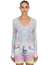 Zadig And Voltaire Printed Mesh Cotton Sweater Multicolor