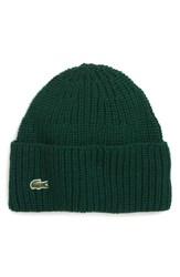 Lacoste Ribbed Wool Beanie Green