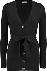 Tory Burch Portia Silk And Cotton Blend Cardigan Black