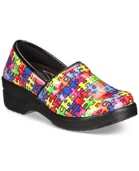Easy Street Shoes Works By Lyndee Slip On Clogs Women's Bright Multi Puzzle Patent