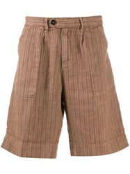 Massimo Alba Wide Leg Striped Shorts Brown