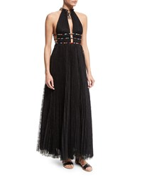 Valentino Halter Neck Lace Gown W Elephant Necklace Black