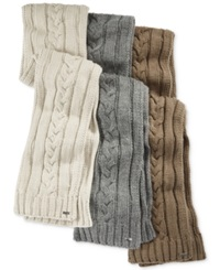 Michael Kors Hand Knit Cable Scarf Oatmeal