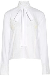 Rochas Pussy Bow Lace Trimmed Cotton Top White