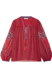 Ulla Johnson Amala Printed Silk Georgette Blouse Red