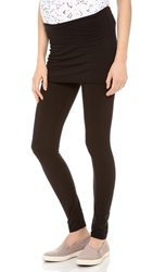 Splendid Maternity Fit Fold Over Leggings Black