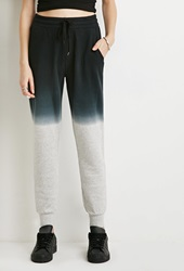 Forever 21 Heathered French Terry Sweatpants Black Navy