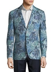 Tallia Orange Slim Fit Floral Blazer Jacket Teal Blue