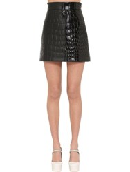 Miu Miu Croc Embossed Faux Leather Mini Skirt Black