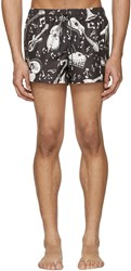 Dolce And Gabbana Black White Instrument Swim Shorts