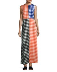 Diane Von Furstenberg High Neck Sleeveless Check Maxi Dress Multi