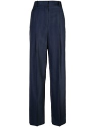 Theory Striped Wide Leg Trousers Blue