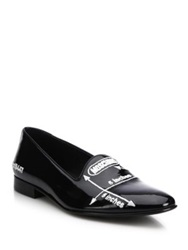Moschino Five Inches Embroidered Patent Leather Loafers Black