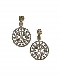 Bavna Round Spinel And Champagne Diamond Drop Earrings