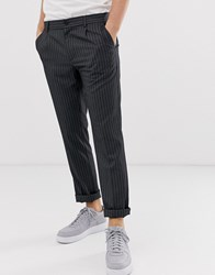 Pier One Slim Fit Trouser With Pinstripe In Grey