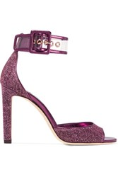 Jimmy Choo Moscow Pvc Trimmed Lurex Sandals Plum