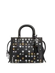 Coach Rogue Pebbled Leather Satchel Black White