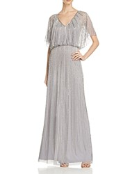 Aidan Mattox Short Sleeve Beaded Blouson Gown Silver Gray