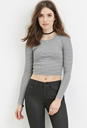 Forever 21 Ribbed Stripe Crop Top Heather Grey Black