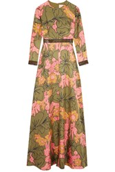 Roksanda Ilincic Kamanev Leather Trimmed Floral Print Silk Twill Gown Green