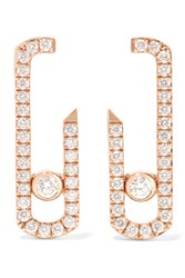 Messika Move Addiction 18 Karat Rose Gold Diamond Earrings One Size