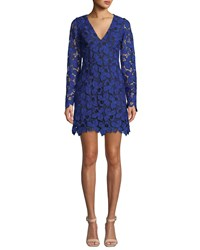 Dress The Population Katherine Short Lace Cocktail Blue Black