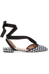 J.Crew Foster Sequined Gingham Canvas Ballet Flats Navy