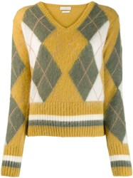 Ballantyne Argyle Knit Jumper Yellow
