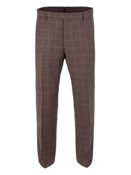 Gibson Woll Check Tailored Fit Trouser Brown