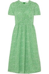Michael Michael Kors Pleated Printed Crepe Midi Dress Green