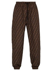 Fendi Ff Logo Track Pants Brown Multi