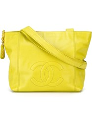 Chanel Vintage Embroidered Logo Tote Green