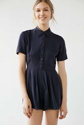 Cooperative Button Front Shirt Romper Navy